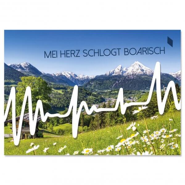 "Postkarte ""Mei Herz schlogt boarisch"""