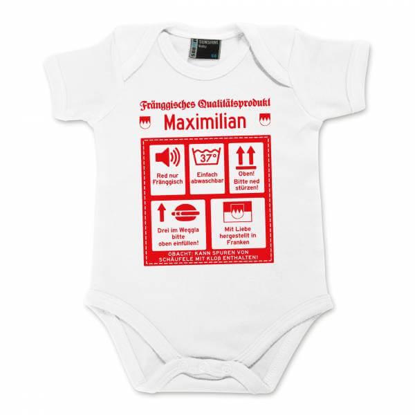 """Baby Body """"Fränggisches Qualitätsprodukt"""" mit Wunschname"""