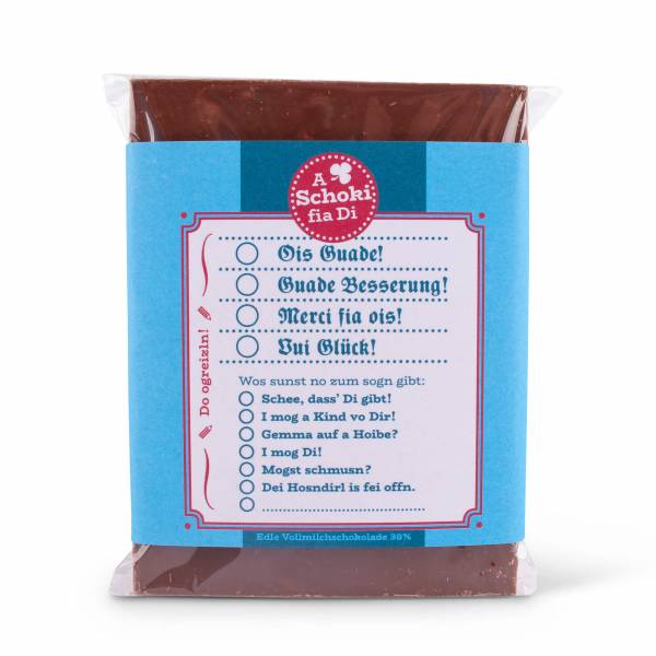 Bayrische Glückwunsch-Schokolade