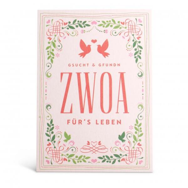 """Glückwunschkarte """"Zwoa für's Leben"""""""