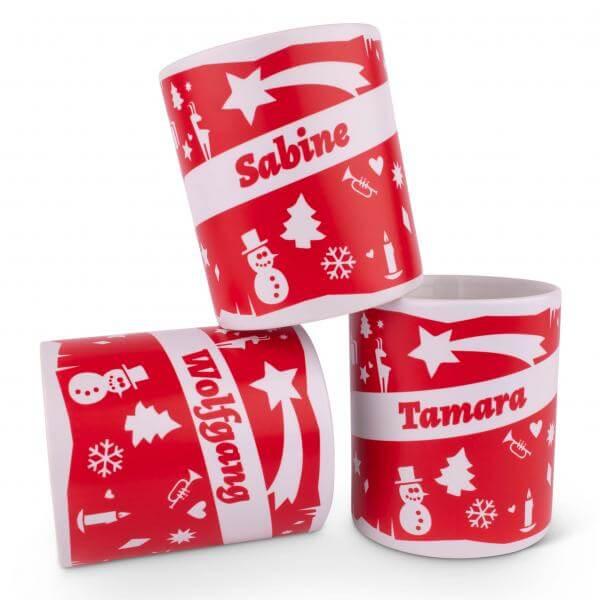 Weihnachts-Kaffeehaferl mit Wunschname