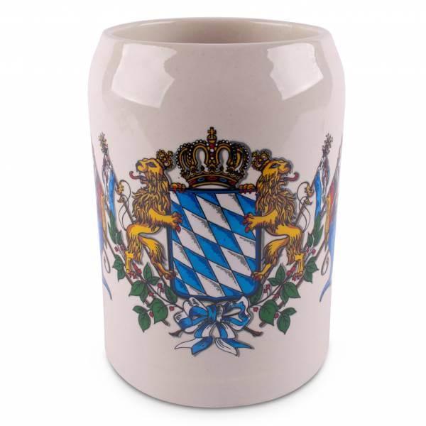 Bierkrug 'Wappen mit Fahnen'