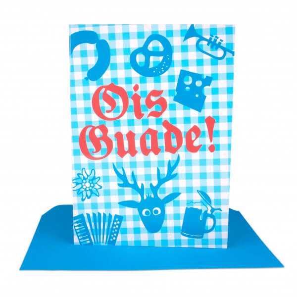 Glückwunschkarte 'Ois Guade!'