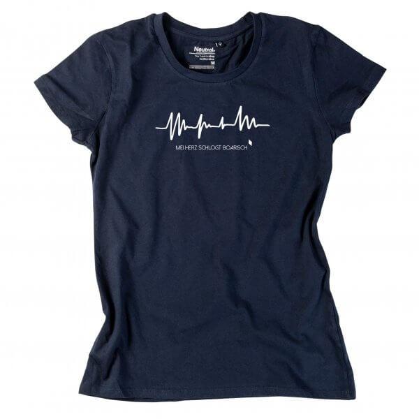 """Damen-Shirt """"Mei Herz schlogt boarisch"""""""