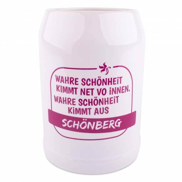 """Bierkrug """"Schönheit"""" pink mit Wunschort"""