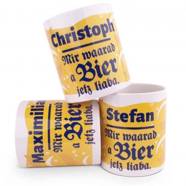 "Tasse ""Bier waarad ma jetz liaba"" mit Wunschnamen"