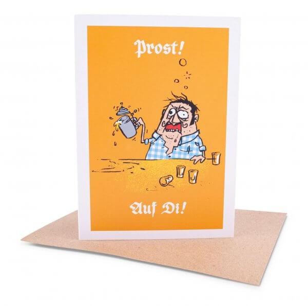 """Glückwunschkarte """"Prost! Auf Di!"""""""