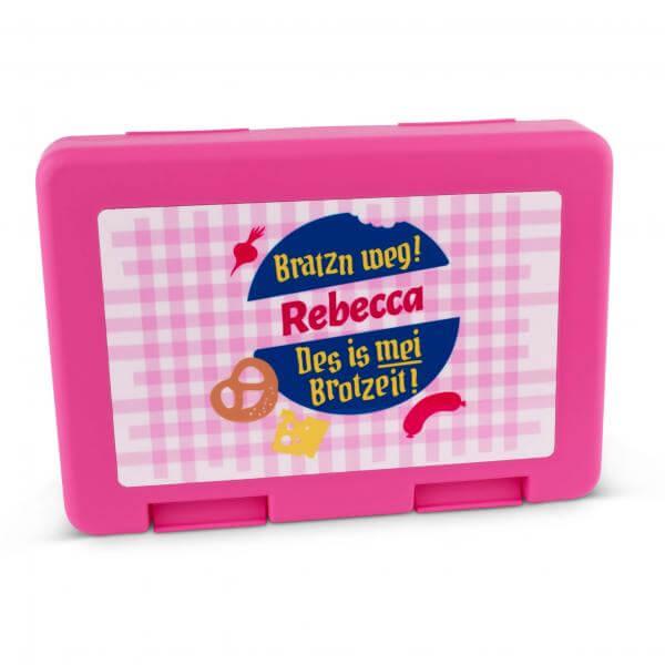 """Brotzeitbox """"Bratzn weg!"""" pink mit Wunschname"""