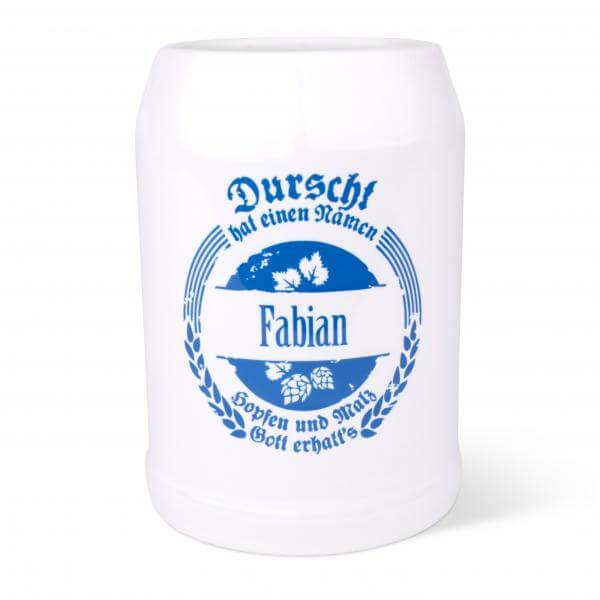 """Bierkrug """"Durscht"""" blau mit Wunschnamen"""