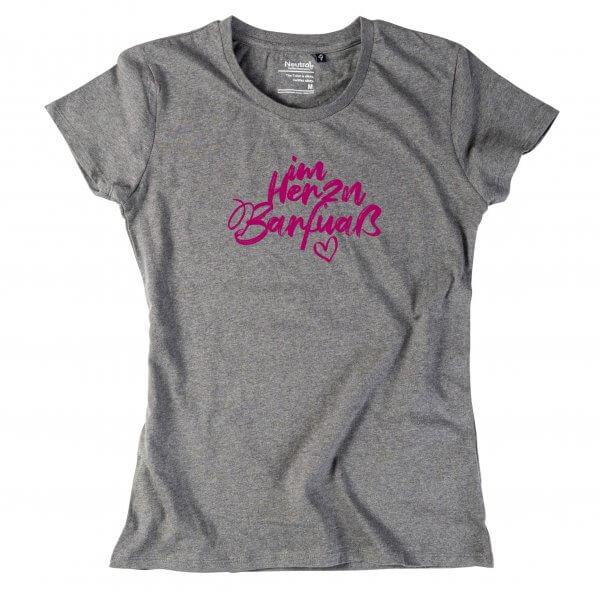 """Damen-Shirt """"Im Herzn Barfuaß"""""""