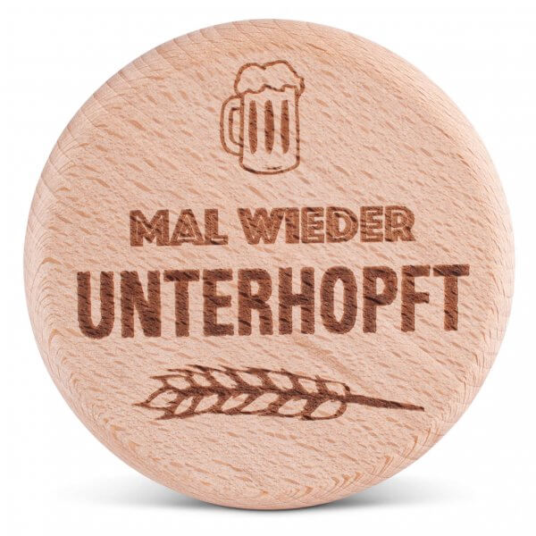 """Bierglasdeckel """"Unterhopft"""""""