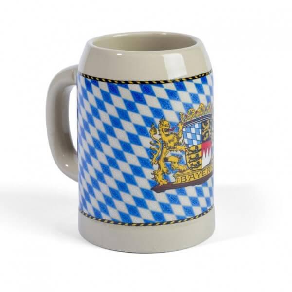 Stein-Bierkrug mit Bayern-Rauten
