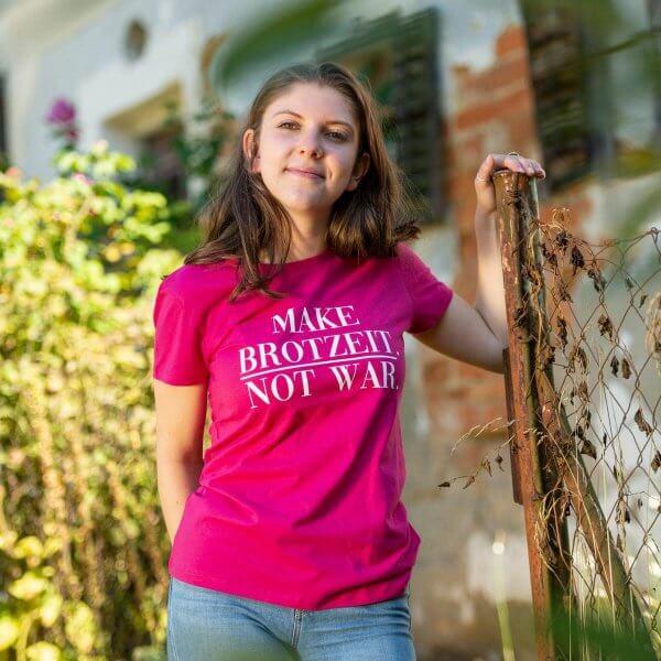 """Damen-Shirt """"Make Brotzeit. Not War."""""""
